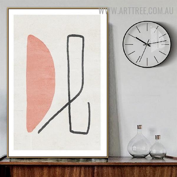 Semi Orb Streak Line Abstract Scandinavian Wall Art Geometric Image Canvas Print for Room Adornment