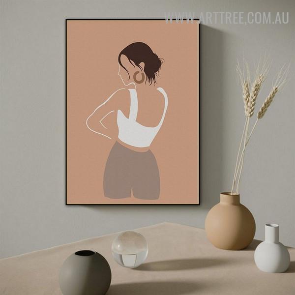 Female Earring Scandinavian Figure Photo Abstract Art Canvas Print for Room Wall Embellishment