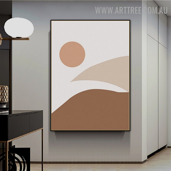 Mount Sun Sky Naturescape Painting Picture Abstract Scandinavian Canvas Print for Room Wall Drape