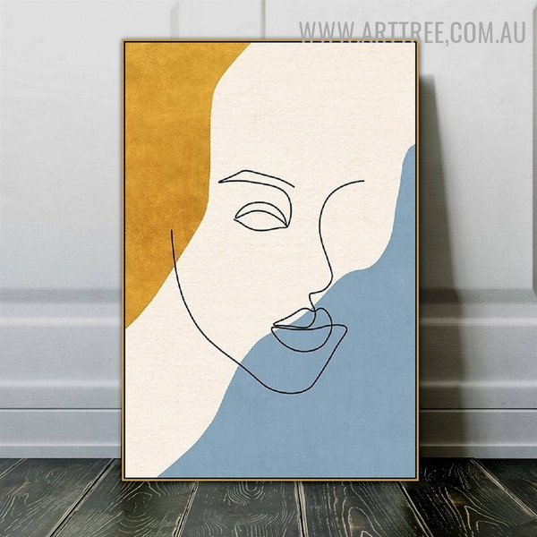 Human Line Face Abstract Figure Art Modern Image Canvas Print for Room Wall Flourish