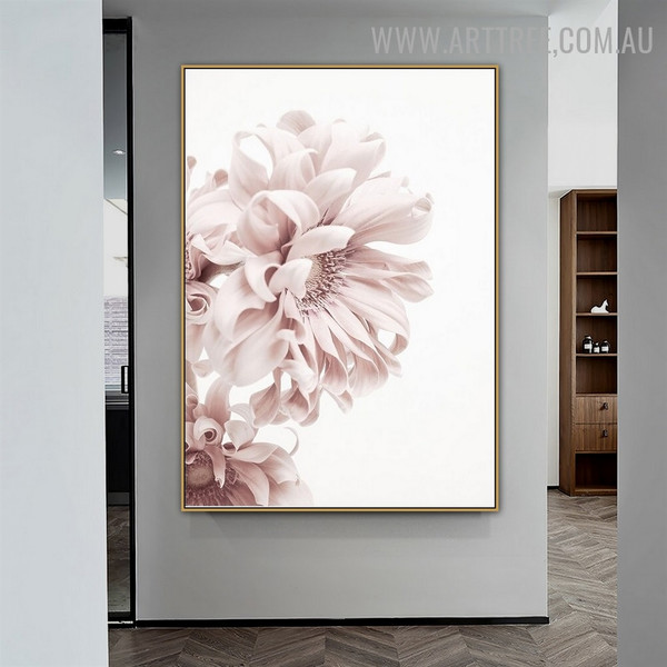 Pink Peony Bloom Floral Abstract Modern Painting Image Canvas Print for Room Wall Tracery