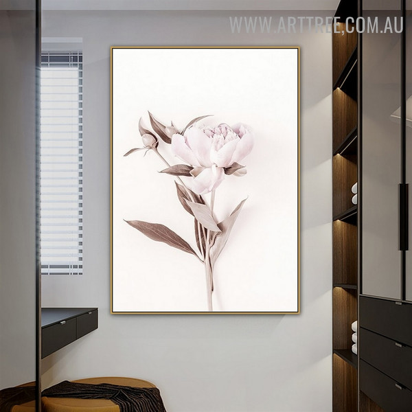 Peony Flower Leafage Abstract Floral Modern Canvas Wall Art Print for Room Wall Illumination