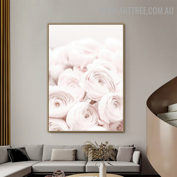 Pink Peony Blossom Abstract Floral Artwork Photo Modern Canvas Print for Room Wall Assortment