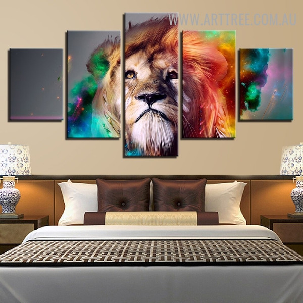 Colourful Lion Animal Modern 5 Piece Multi Panel Image Canvas Painting Print for Room Wall Drape