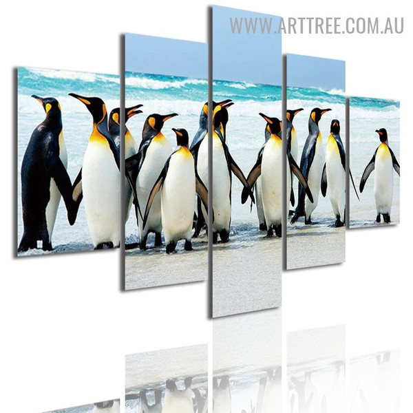 Penguins Bird Modern 5 Piece Large Naturescape Canvas Wall Art Image Canvas Print for Room Finery