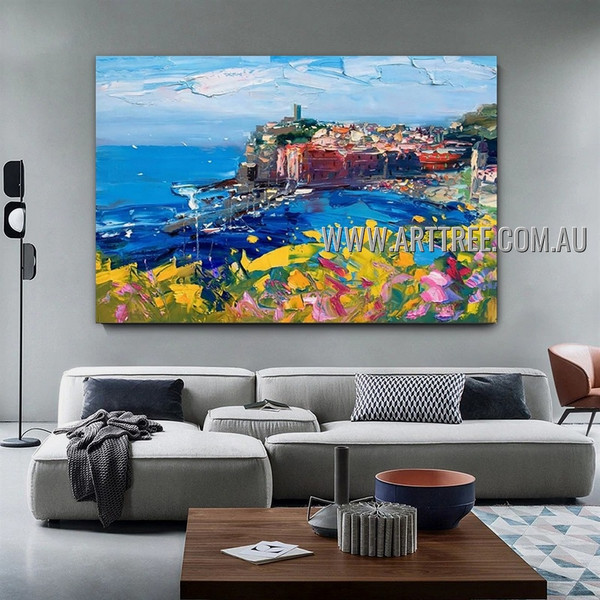 Seaboard City Landscape Modern Heavy Texture Artist Handmade Abstract Wall Art Painting for Room Spruce