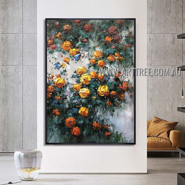 Floral Art Modern Heavy Texture Artist Handmade Abstract Acrylic Painting for Room Outfit
