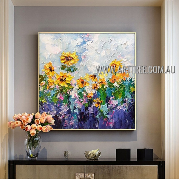 Sunflower Garth Floral Abstract Heavy Texture Artist Handmade Contemporary Art Painting for Room Decor