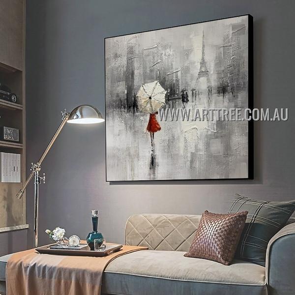 White Umbrella Figure Cityscape Abstract Figure Heavy Texture Artist Handmade Contemporary Art Painting for Room Decor