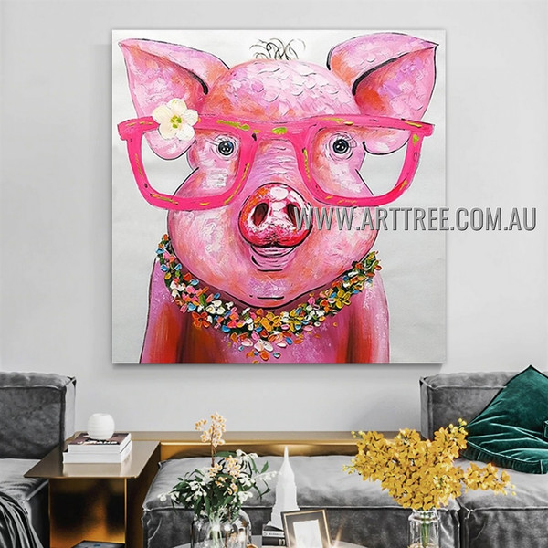 Pink Pig Modern Heavy Texture Artist Handmade Animal Art Painting for Room Decoration