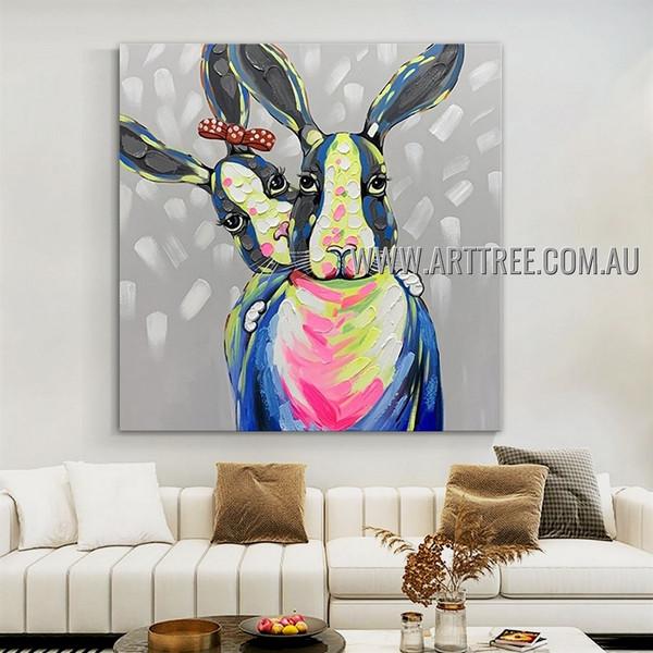 Dapple Rabbits Modern Heavy Texture Artist Handmade Animal Wall Art Painting for Room Adornment