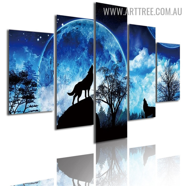 Forest Wolf Clouds Landscape Modern 5 Piece Split Panel Animal Artwork Image Canvas Print for Room Wall Disposition