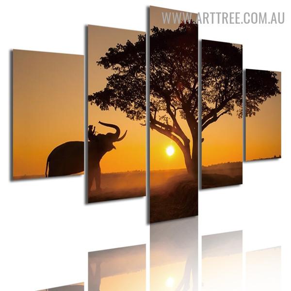 Elephant Sapling Land Modern Landscape 5 Multi Panel Animal Artwork Image Canvas Print for Room Wall Garniture