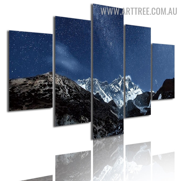 Snow Hills Sky Modern 5 Piece Multi Panel Image Canvas Naturescape Painting Print for Room Wall Equipment