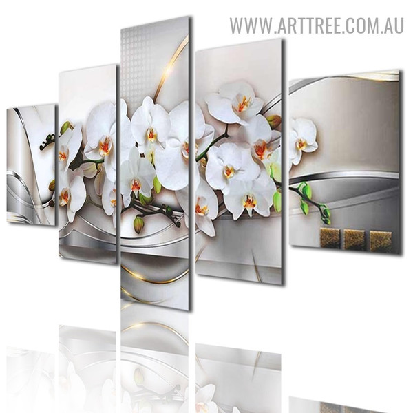Phalaenopsis Flowers Square Modern Floral 5 Piece Multi Panel Geometric Image Canvas Painting Print for Room Wall Decoration