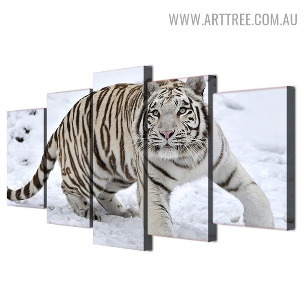 Black And White Tiger Modern Landscape 5 Piece Multi Piece Animal Painting Image Canvas Print for Room Wall Tracery