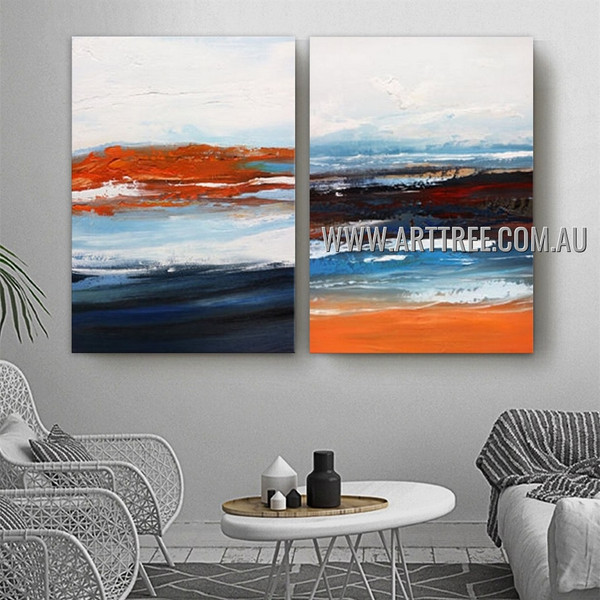 Pied Taints Abstract Contemporary Heavy Texture Artist Handmade 2 Piece Multi Panel Oil Painting Wall Art Set for Room Adornment