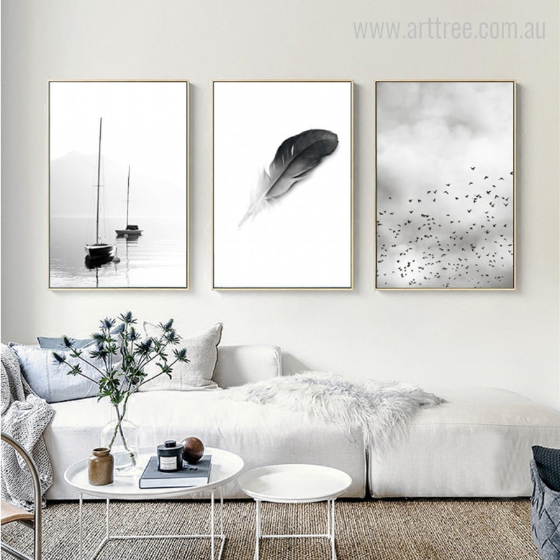 Boats, Feather, Minimal Flying Birds Canvas Prints
