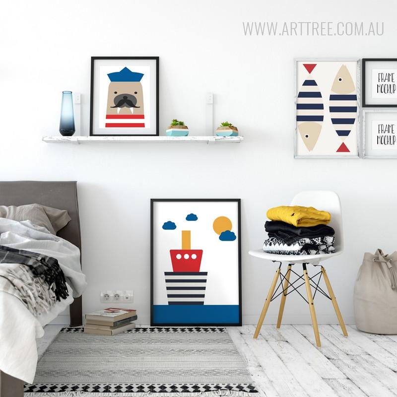 Cute Seal Sailor, Ship, Fishes Large Nursery Wall Art