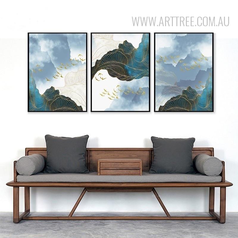 Modern Abstract Landscape Golden Birds 3 Piece Wall Decor
