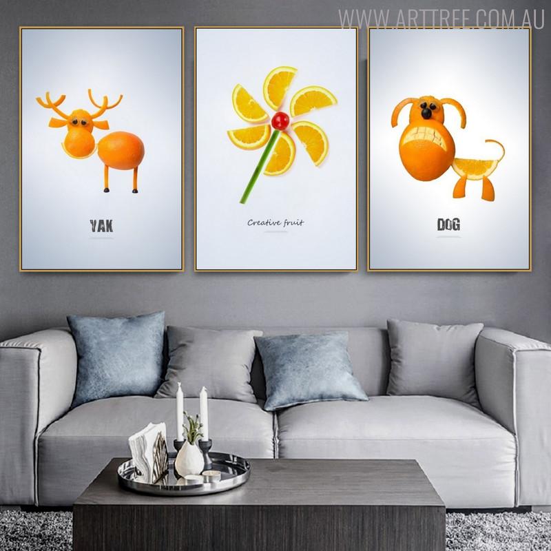 Fruits Animal Abstract Creative Nordic Painting Print for Living Room Wall Flourish