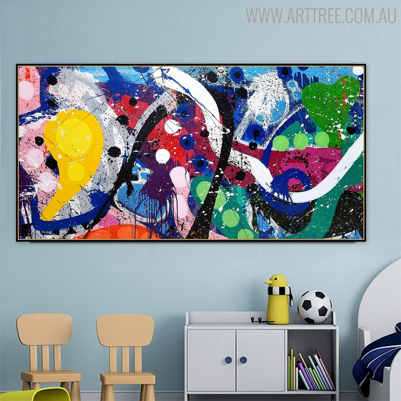 Deeply Color Abstract Modern Texture Handmade Oil Resemblance for Kids Room Wall Getup