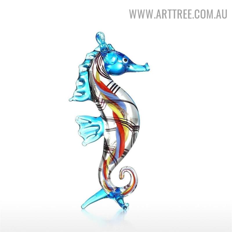 Seahorse Sea Sculpture Figurines Miniature Glass Sculpture for Sale