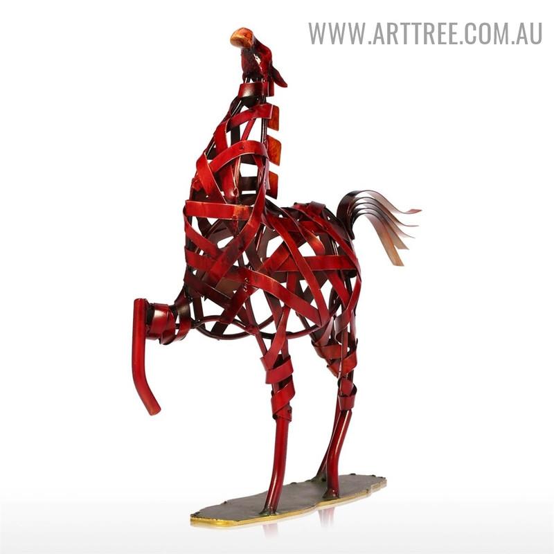 Weaving Horse Animal Figurine Metal Statue for Sale