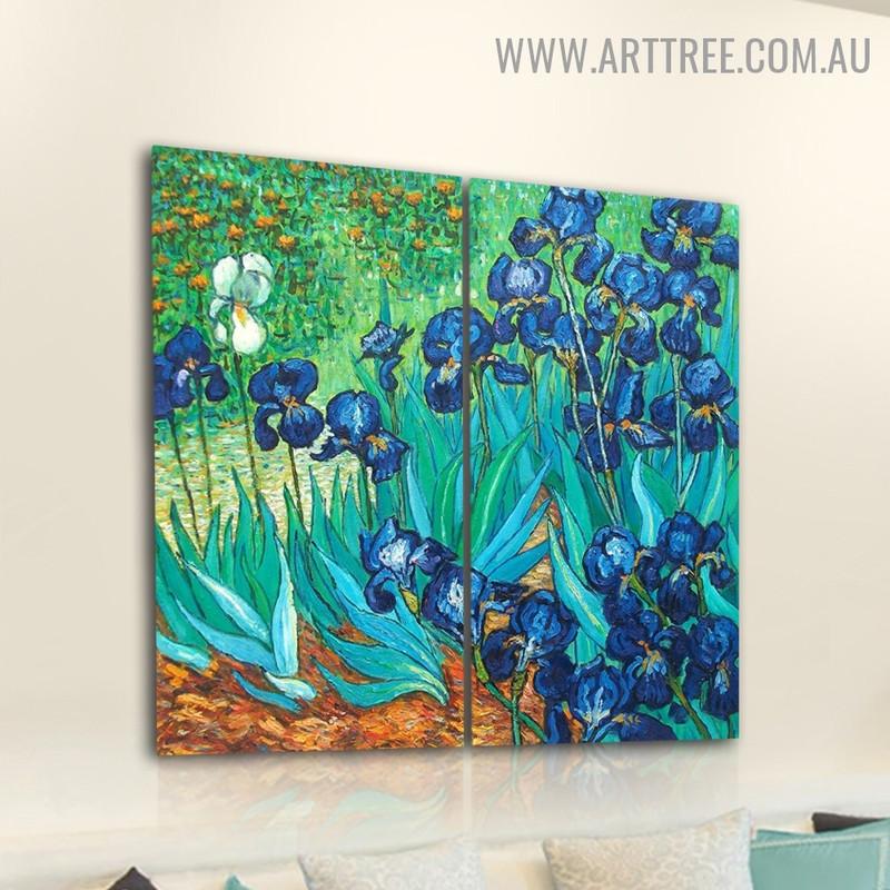Iris Flower Garden Botanical Handmade 2 Piece Multi Panel Canvas Oil Painting Wall Art Set for Room Getup