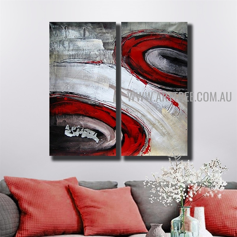 Rambling Blemishes Abstract Handmade 2 Piece Multi Panel Canvas Painting Wall Art Set For Room Garniture