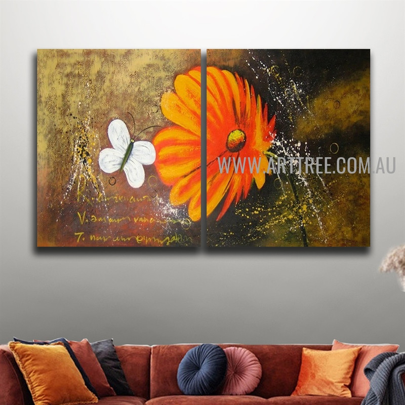 White Butterfly Floral Animal Handmade 2 Piece Multi Panel Painting Wall Art Set For Room Finery