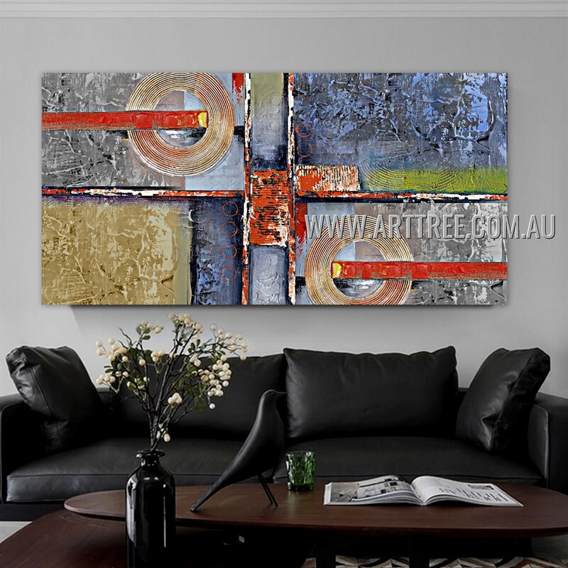 Globose and Strokes Geometric Heavy Texture Artist Handmade Stretched Abstract Acrylic Painting For Room Wall Molding