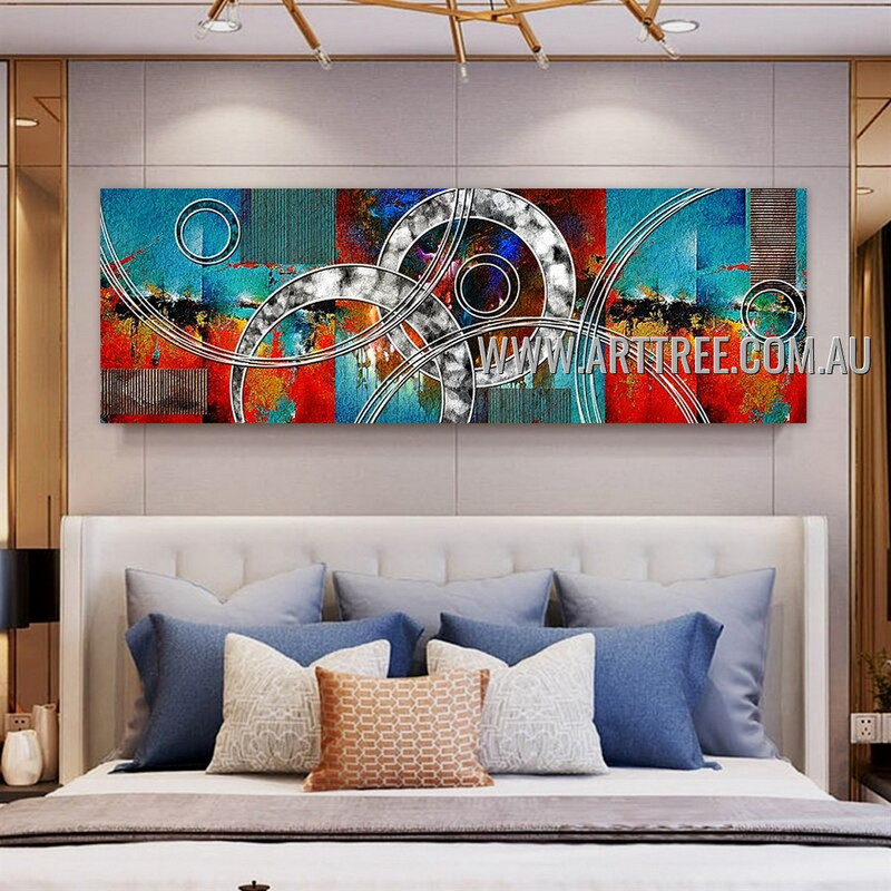 Sinuate Lines Panoramic Contemporary Artist Handmade Impasto Stretched Modern Abstract Art Painting For Room Wall Décor