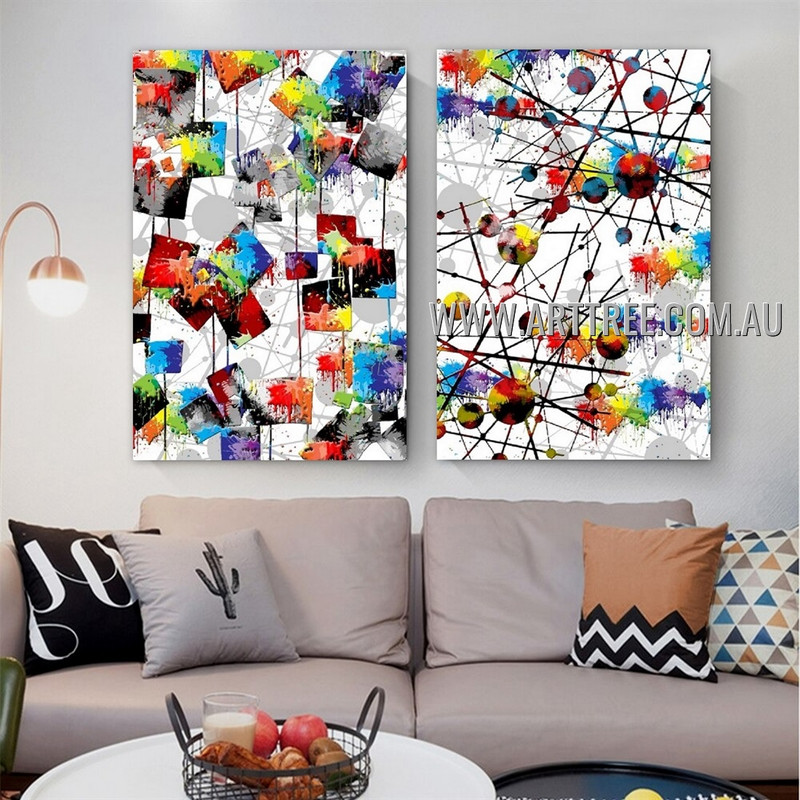 Geometric Stains Modern Artist Handmade Framed 2 Piece Multi Panel Abstract Painting Wall Art Set For Room Tracery
