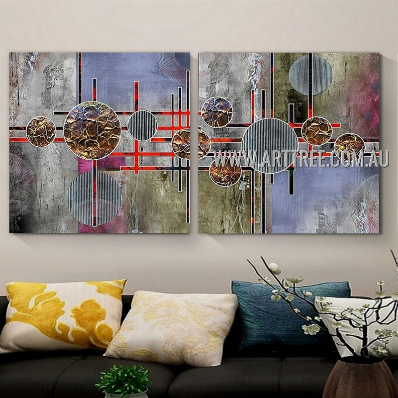 Chromatic Sinuate Abstract Contemporary Artist Handmade 2 Piece Multi Panel Oil Paintings Wall Art Set For Room Wall Moulding
