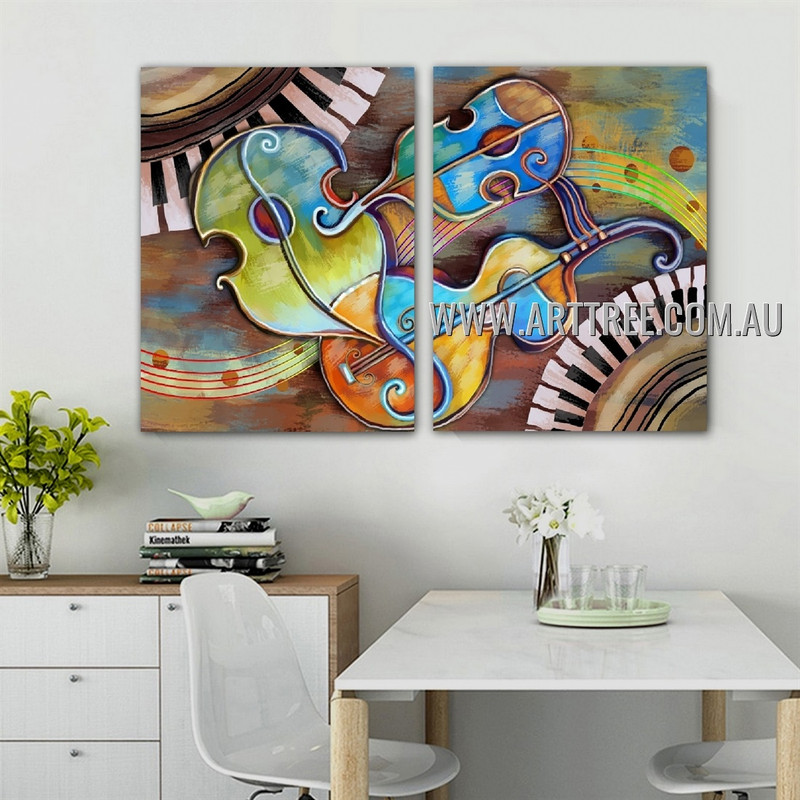 Dapple Violin Abstract Contemporary Artist Handmade 2 Piece Multi Panel Canvas Oil Painting Wall Art Set For Room Wall Embellishment