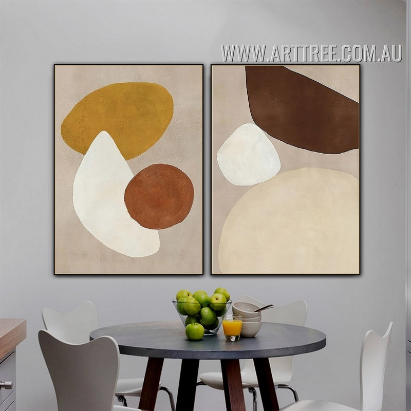 Orb Slur Spots Abstract 2 Piece Geometrical Pattern Vintage Painting Picture Canvas Print for Room Wall Outfit