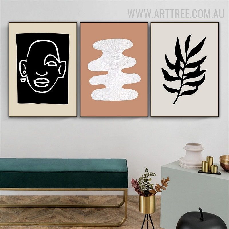 Human Portrait Spot Abstract Scandinavian Floral Painting Photo 3 Piece Canvas Print for Room Wall Flourish