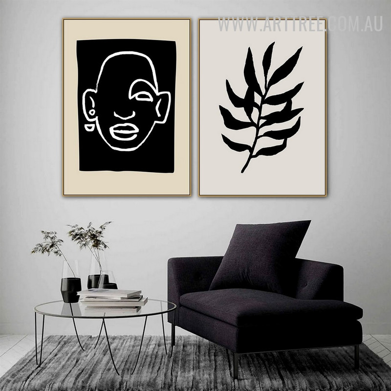 Black Leaflets Face Floral Painting Image 2 Piece Abstract Scandinavian Canvas Print for Room Wall Decor