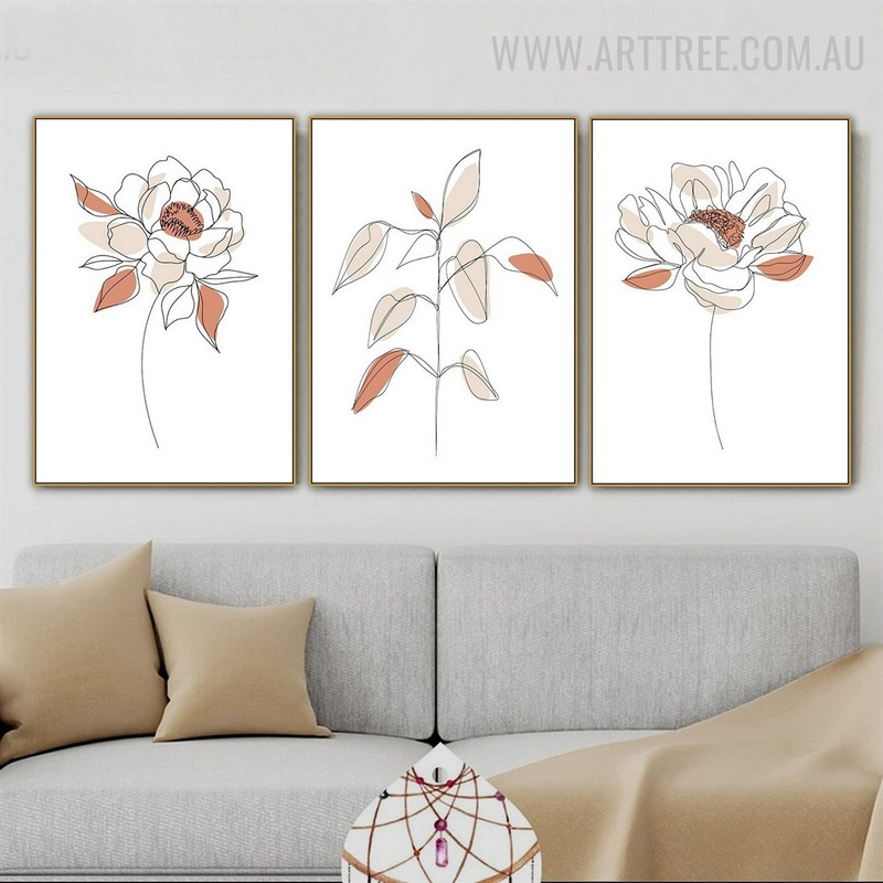 Peony Floret Leaves Abstract Floral 3 Piece Scandinavian Art Photo Canvas Print for Room Wall Moulding