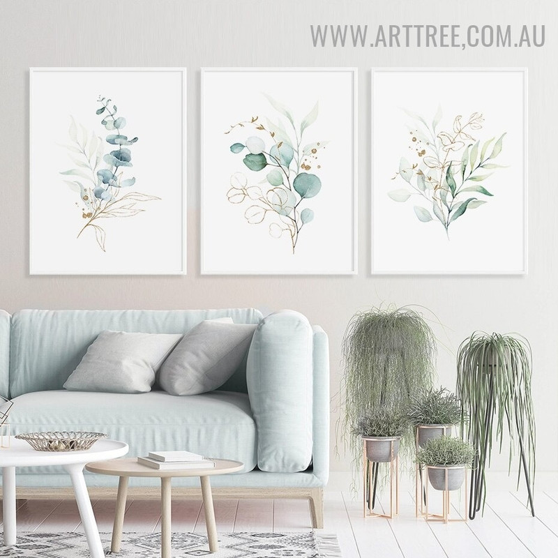 Eucalyptus Foliage Leaves Nordic Floral Modern 3 Piece Wall Art Picture Abstract Canvas Print for Room Molding