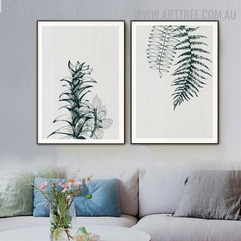 Fern Leaves Floral Vintage Painting Picture 2 Piece Abstract Canvas Print for Room Wall Onlay
