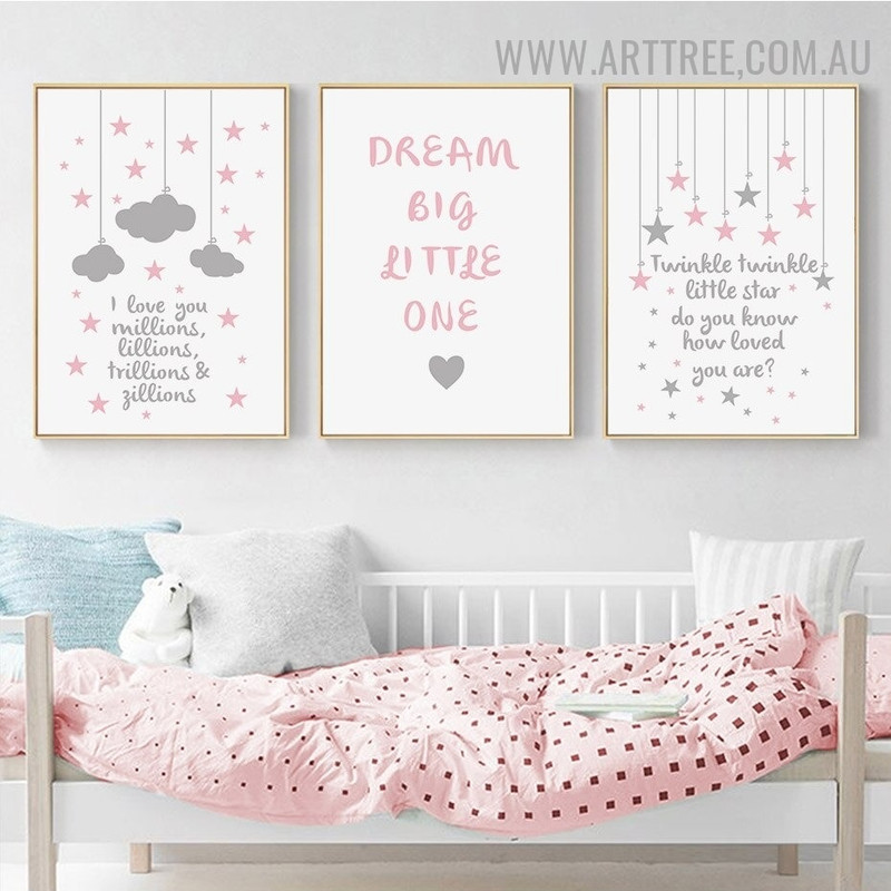 Twinkle Stars Clouds 3 Piece Kids Quotes Modern Painting Picture Canvas Print for Room Wall Drape