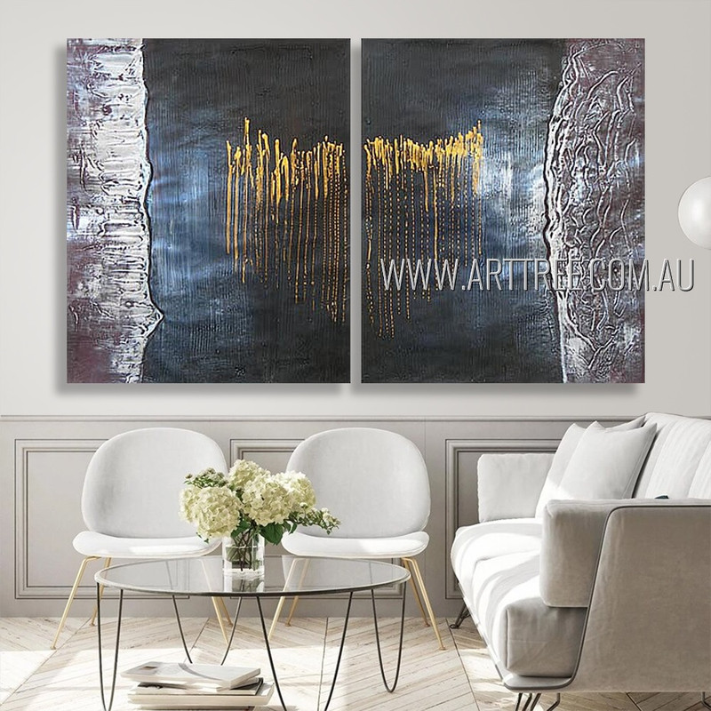 Dotted Lines Abstract Modern Heavy Texture Artist Handmade 2 Piece Multi Panel Wall Painting Set For Room Décor