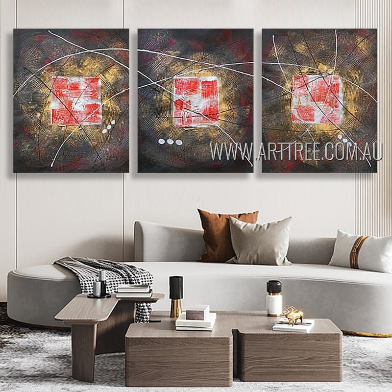 Multicolor Slurs Abstract Modern Heavy Texture Artist Handmade 3 Piece Multi Panel Painting Wall Art Set For Room Trimming