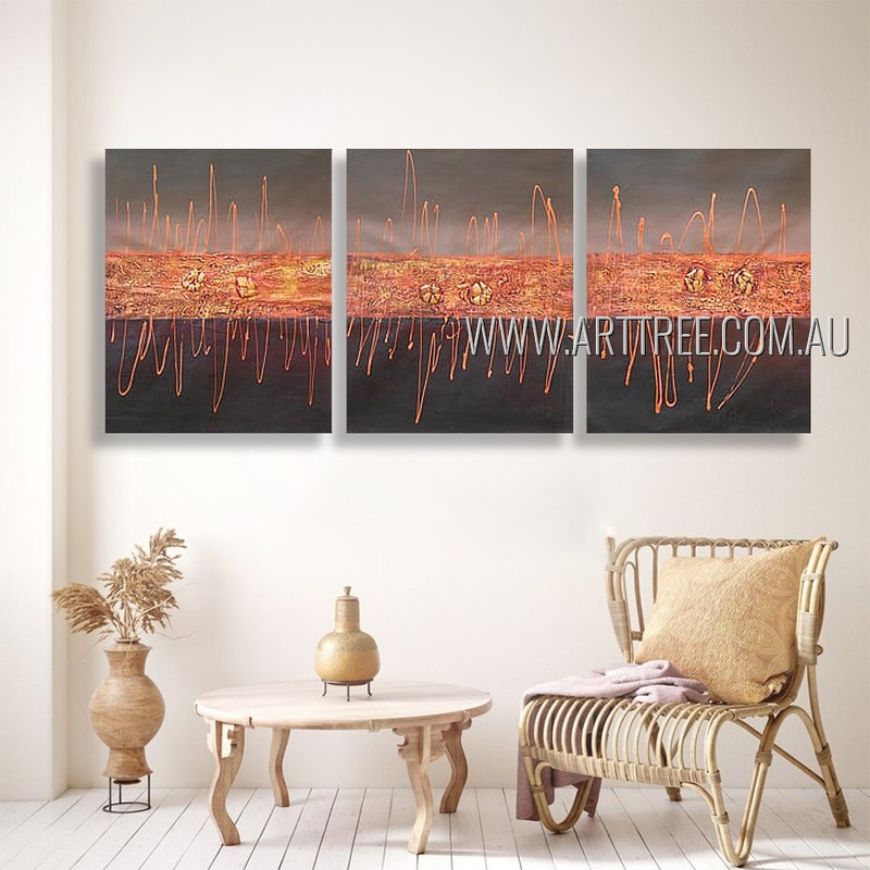 Zigzag Lineaments Abstract Modern Heavy Texture Artist Handmade 3 Piece Split Canvas Paintings Wall Art Set For Room Tracery