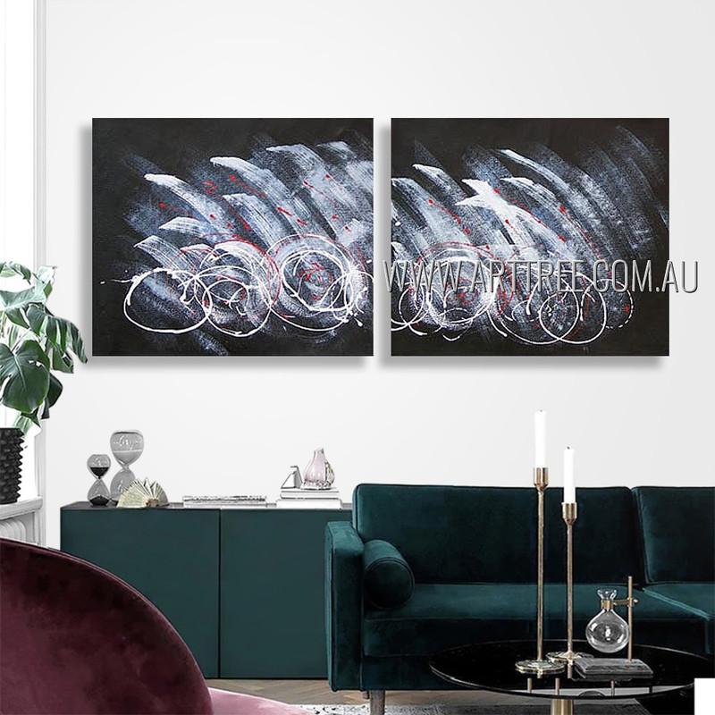 Wandering Design Abstract Modern Heavy Texture Artist Handmade 2 Piece Multi Panel Wall Art Paintings Wall Art Set For Room Decor