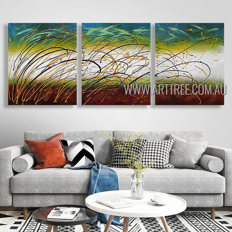 Winding Strokes Abstract Modern Heavy Texture Artist Handmade 3 Piece Split Canvas Paintings Wall Art Set For Room Ornament