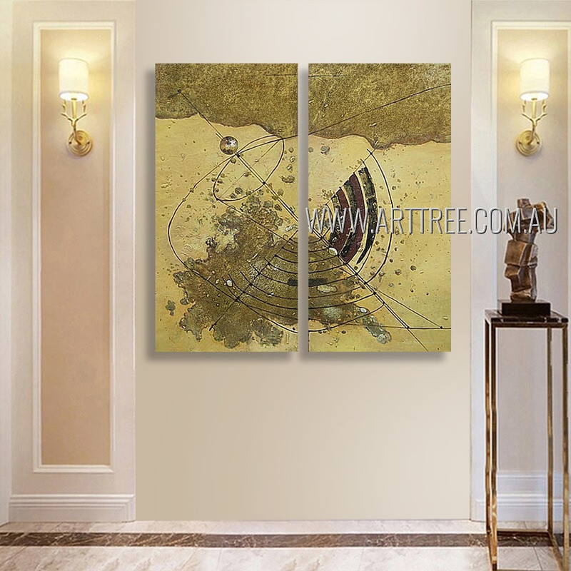 Winding Trails Abstract Vintage Heavy Texture Artist Handmade 2 Piece Split Complementary Painting Wall Art Set For Room Decoration