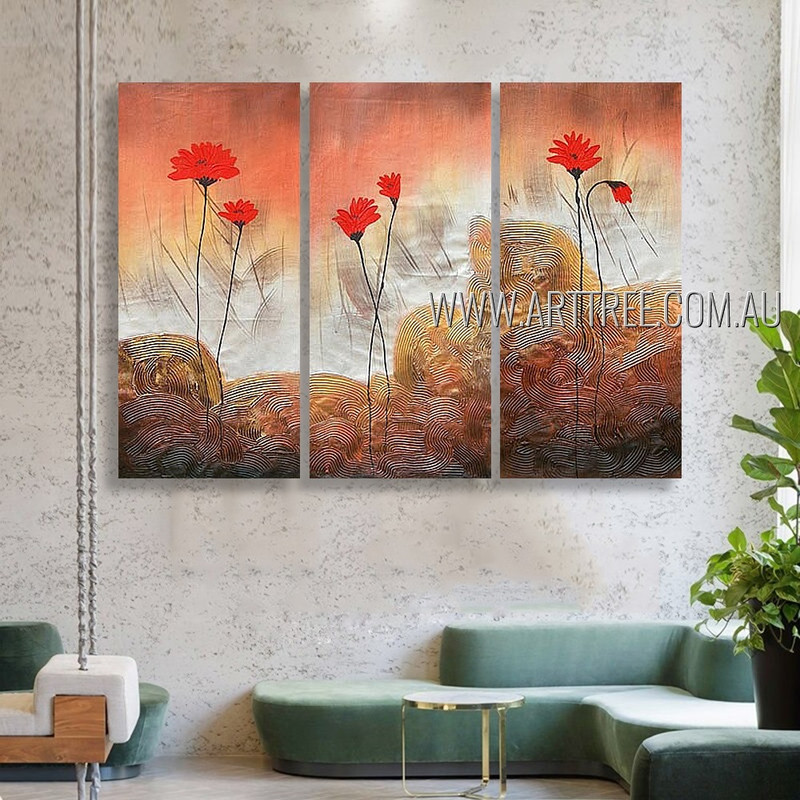 Red Blooms Floral Vintage Heavy Texture Artist Handmade 3 Piece Split Panel Canvas Wall Art Set For Room Décor